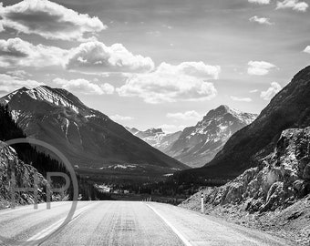 Into the Mountains, Alberta, Canada, Black and White Photographic Print