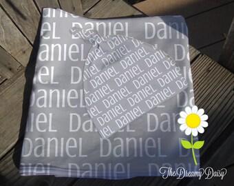 Personalized Baby Blanket & Hat Set - Grey Monogrammed Receiving Blanket and Newborn Beanie Hat - Custom Name Swaddling Blanket and Hat