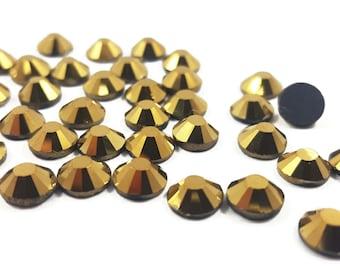 Metallic Gold Flat Back Rhinestones, Iron On Metal Look Rhinestones, Mirrored Rhinestones