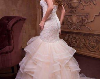 Mermaid champagne wedding dress