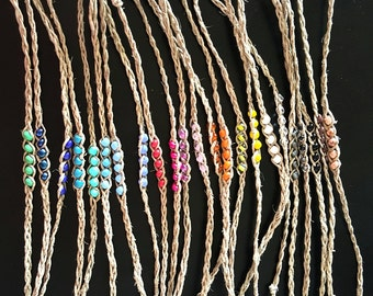 NEW! Handmade! Beaded hemp wish bracelet, you choose your color!