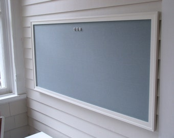 "HUGE Slate Blue Fabric Magnetic Bulletin Board - Magnet Board for Girls Room or Office - Oversized 26 x 52"" Hand Built Framed Cottage Style"