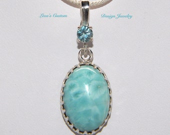Larimar blue zircon sterling silver filigree pendant on sterling silver chain