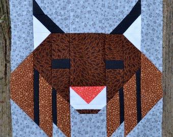 Bobcat Lynx Quilt BLOCK Pattern, PDF, Instant Download, modern patchwork, forest, animal, cute, woodland