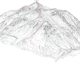 Redcloud Peak (14ers), line illustration showing the Silver Creek approachs.