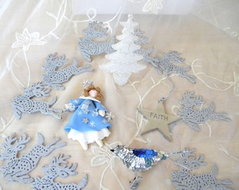 Lot of Silver and Blue Ornaments for Decorating or Crafting, Angel, Tree, Star, Reindeer, Bird