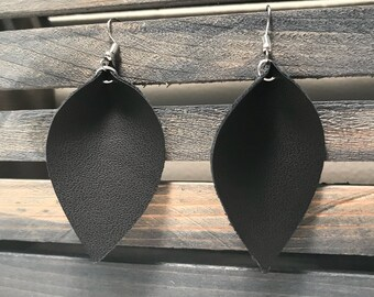 Faux Leather Leaf Earrings