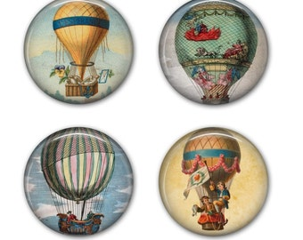 Hot Air Balloon Coasters - Drink Coasters, Set of 4 Coasters - C005