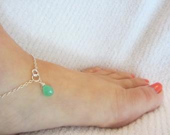 Anklets for Women, Gemstone Anklet, Green Gemstone Anklet, Chrysoprase Gemstones, May Birthstone, Green Anklet,   Beachy Anklet, Surfer Girl