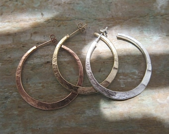 "Gold hoops earrings, Sterling Silver, ""Kenza"" made in France, handcrafted. Reclycled Sterling Silver."