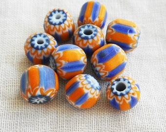 Lot of 25 blue and orange striped chevron glass Beads 6 x 7mm  C8501