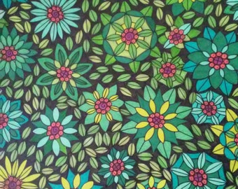 Green and Turquoise Flowers Pen and Ink Drawing