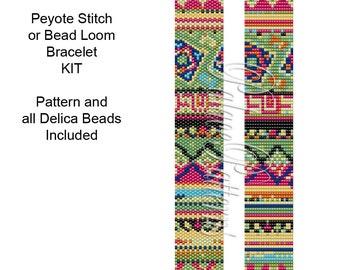 Tribal3 Bracelet Beading Kit - Peyote Stitch Delica Bracelet KIT p29 - Includes Pattern and Beads - Bead Loom Bracelet Kit