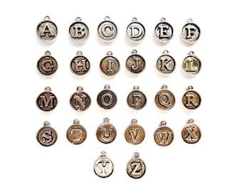 26 Antique Silver Alphabet Charms A to Z - 27-11
