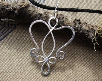 Celtic Angel Heart Sterling Silver Pendant, Celtic Necklace, Celtic Angel Necklace, Celtic Jewelry, Angel Jewelry, Women Remembrance Gift