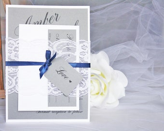 Grey and Navy Blue Lace Wedding Invitations, Grey and Blue Lace Wedding Invitations, Grey and Navy Wedding, Lace Wedding Invitations
