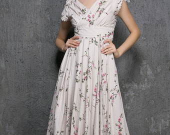 Floral Maxi Dress - women Long prom Dresses with self tie belt and cape sleeve -Woman Party Dress -Woman Maxi linen Dress - Handmade 1318