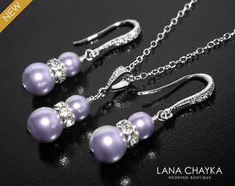 Lavender Pearl Earrings&Necklace Set, Swarovski Lavender Pearl Jewelry Set, Bridal Light Purple Pearl Set, Wedding Bridesmaids Jewelry Sets