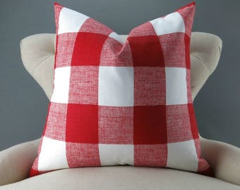 Red Plaid Pillow Cover -MANY SIZES- Big Check Pattern, Euro Sham, Lumbar, Decorative Throw, Buffalo Plaid, Anderson Lipstick Premier Prints
