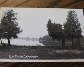 Vintage Black and White Photo Postcard Lake Pleasant Imlay City, Michigan