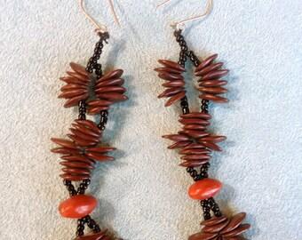 Vintage Earrings,Natural Seeds ,Dangle,