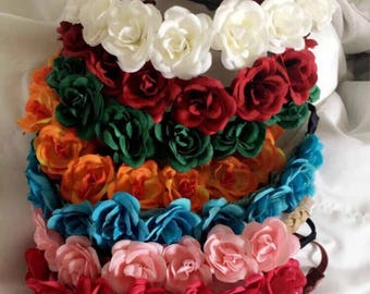 Colorful flower crown headbands on elastic band in a variety of colors!