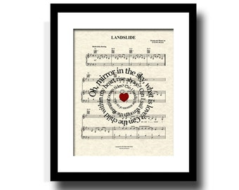 Landslide by Fleetwood Mac Spiral Lyric Sheet Music Art Print, Stevie Nicks, Custom Art, Names and Date, Music Wall Art, Home Decor