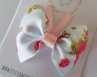 Baby blue rose butterfly hair clip