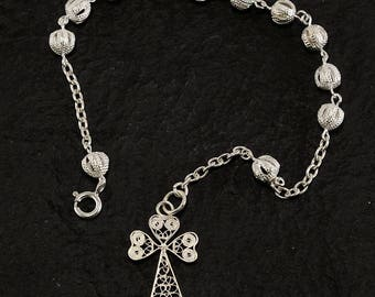 Silver Filigree hand-crafted rosary bracelet