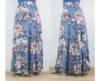 Ladies Aline floral long rayon maxi skirt, 8 10 12 14 Australian Made vintage inspired print