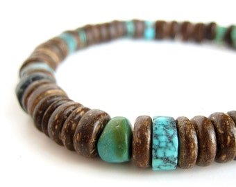 Tribal men's bracelet - wood bracelet for men - Tribal Turquoise