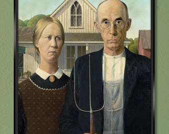 American Gothic – Grant Wood 1930 24x30 Canva Wrap w/ Free UPS Shipping