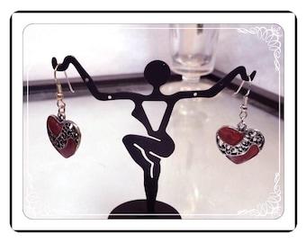 Heart Shaped Earrings - Vintage Rockabilly Pierced   -  E282a-072313000