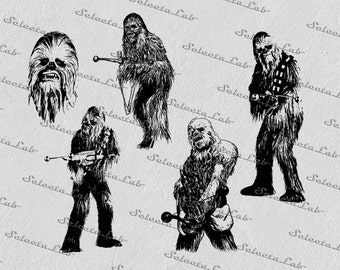 Digital SVG PNG chewbacca, star wars inspired, clipart, vector, silhouette, instant download