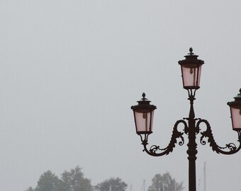 Travel Photo Print Pink Lamppost in Fog, Venice, Italy, St. Mark's Square, Wall Art, Travel Print, Italy Photo, Photography Print