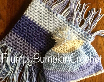 blue tones hat and fringe cowl combo