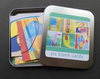 Six blank abstract cards, tin of six cards, abstract painting, includes envelopes and tin
