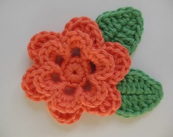 Crocheted Flower with Leaves - Mango and Apple Green - Cotton Yarn - Crocheted Flower and Leaf Appliques