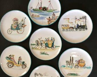Hand-Painted Vintage Italian Dessert Plate Set, Transportation Theme