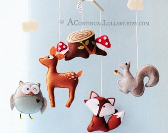 20% OFF Limited Time SALE Woodland Baby Mobile No.2, Woodland Animals, Woodland Nursery Decor, Owl Deer Fox Squirrel Tree Stump Clouds
