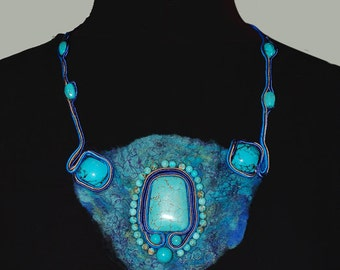 Felted turquoise necklace, Felt and soutache necklace, Beaded felt jewelry, Felt fashion, Fiber and textile jewelry mixed media, OOAK
