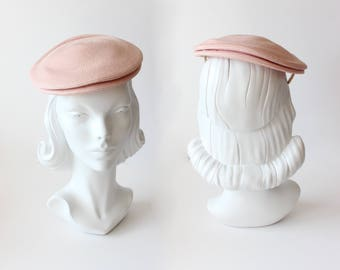 1960s Hat / Vintage Dayton Company Pink Woven Beret Tilt Hat