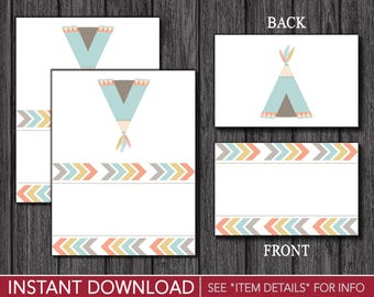 Tribal Tent Cards - Tribal Buffet Cards - Food Labels - Place Cards - Printable Digital File - INSTANT DOWNLOAD