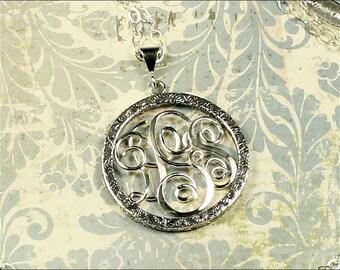 Round Monogram Necklace, Personalized Circle Pendant, Handmade Monogram Pendant, Sterling Silver Monogram, Script Wire Initials