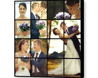 Custom Wedding Photo Collage - 16x16 Giclée Print on Canvas - Collage Using up to 16 of Your Wedding Photos - Personalized Wedding Gift