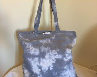 grey shibori cotton tote bag