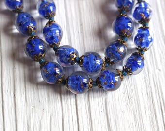 Long vintage venetian sommerso necklace