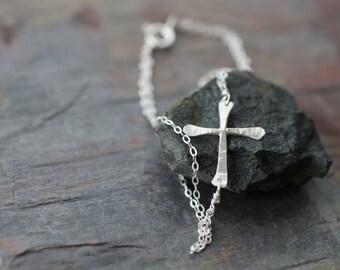 sideways cross bracelet sterling silver handmade jewelry, hammered,  bridesmaid, wedding, simple, delicate, dainty, shiny, artisan, B03