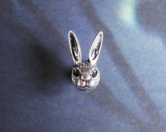 Silver Hare - Tiny Antiqued Silver Plated Hare Jackrabbit Brooch, Lapel Pin or Tie Pin, Tie Tack with Gift Box