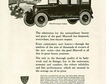 Antique 1922 Car Ad The Good Maxwell advertising print decor